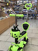 Детский самокат ITrike 5 в 1 салатовый, с подножкой, со светящимися колёсами
