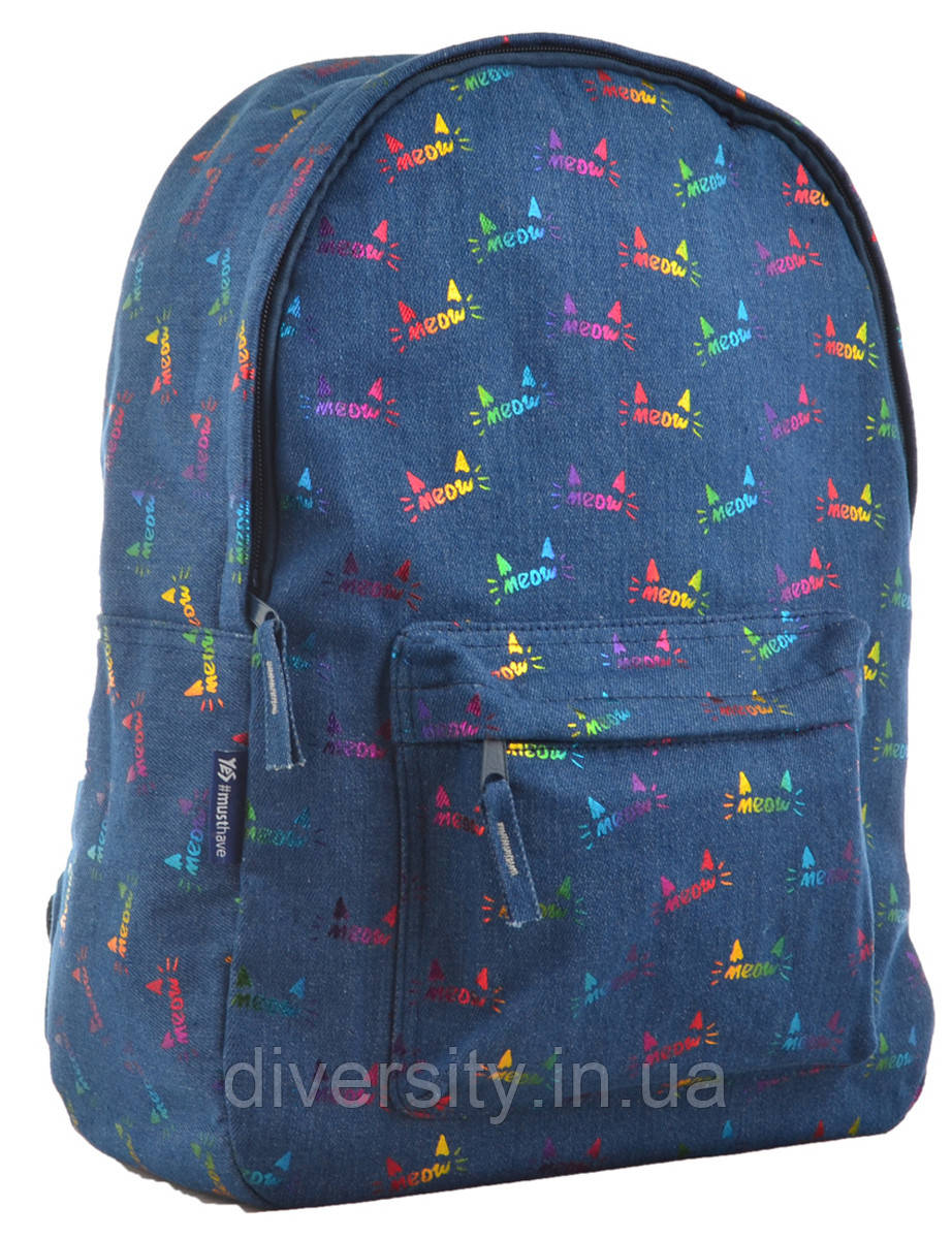 Молодежный рюкзак YES  ST-18 Jeans Meow, 41*30*13.5