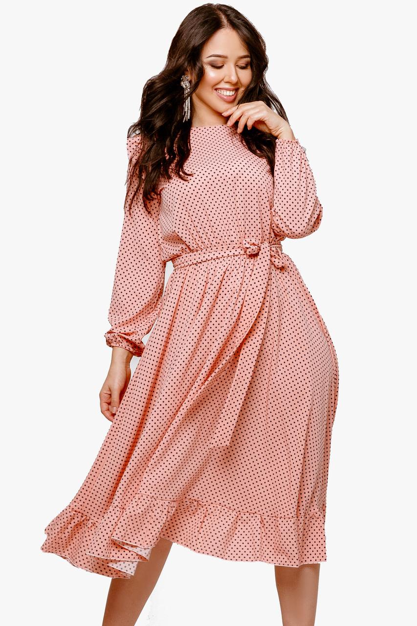 Платье женское с рюшиками в горох Персиковый