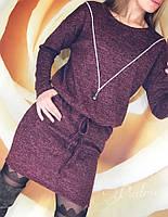Женское короткое зимнее платье ангора с люрексом черный бордо серый 42-46 48-50, фото 1