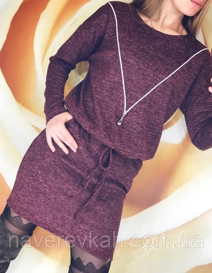 Женское короткое зимнее платье ангора с люрексом черный бордо серый 42-46 48-50