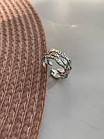 Женское широкое кольцо серебро 925 регулируемого размера Рыбки