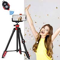 Штатив Zomei T60 для фотоаппарата, камер, телефона, экшн камер c креплением и Bluetooth пультом для смартфона