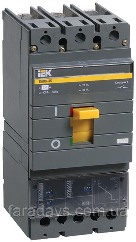 Автоматичний вимикач 3р, 35кА, 100-250A,  з електронним розчіплювачем  (ВА88-35 з розч. МР211 IEK)