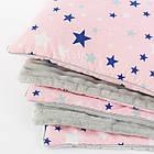 Плед и подушка со звёздами серо-розового цвета., фото 2