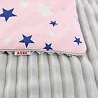 Плед и подушка со звёздами серо-розового цвета., фото 3