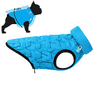 Двусторонняя курточка для собак AiryVest UNI (эластичная) M43, Голубая/черная