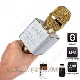 Беспроводной микрофон караоке блютуз Q9 Bluetooth динамик USB Золотой В ЧЕХЛЕ