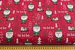 """Ткань новогодняя """"Дед Мороз хо-хо-хо"""" на красном, №2469, фото 2"""