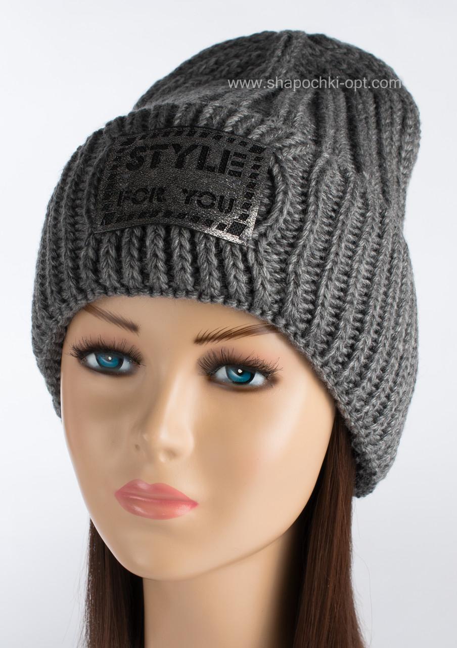 Теплая вязаная шапка Анна темно-серая