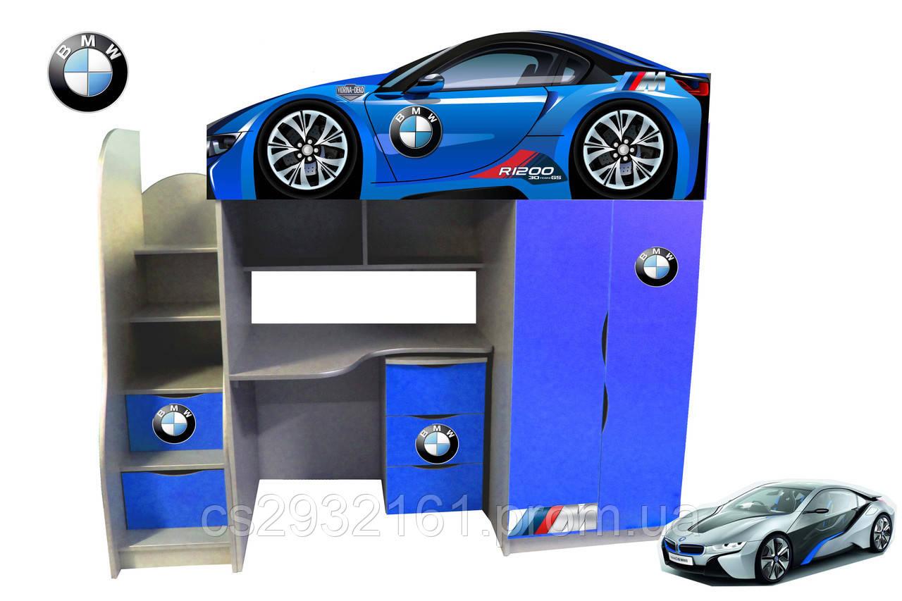 Кровать чердак машинка на выбор 170*80 серия Brand с тумбой. Кровать с рабочей зоной. Кровать двухэтажная BMW