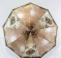 Качественный складной зонт полуавтомат Popular 930-2P с котами, фото 1