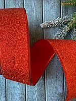 """Лента новогодняя 6 см, 50 ярд (около 43-45 м) """" Парча красного цвета"""" оптом"""