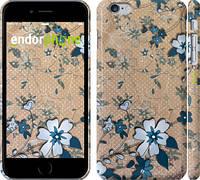 """Чехол на iPhone 6 Plus Синие цветы на коричневом фоне """"506c-48"""""""