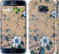"""Чехол на Samsung Galaxy S6 G920 Синие цветы на коричневом фоне """"506c-80"""""""