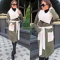 Женское пальто кардиган из экозамши и экомеха баран 5802214, фото 1