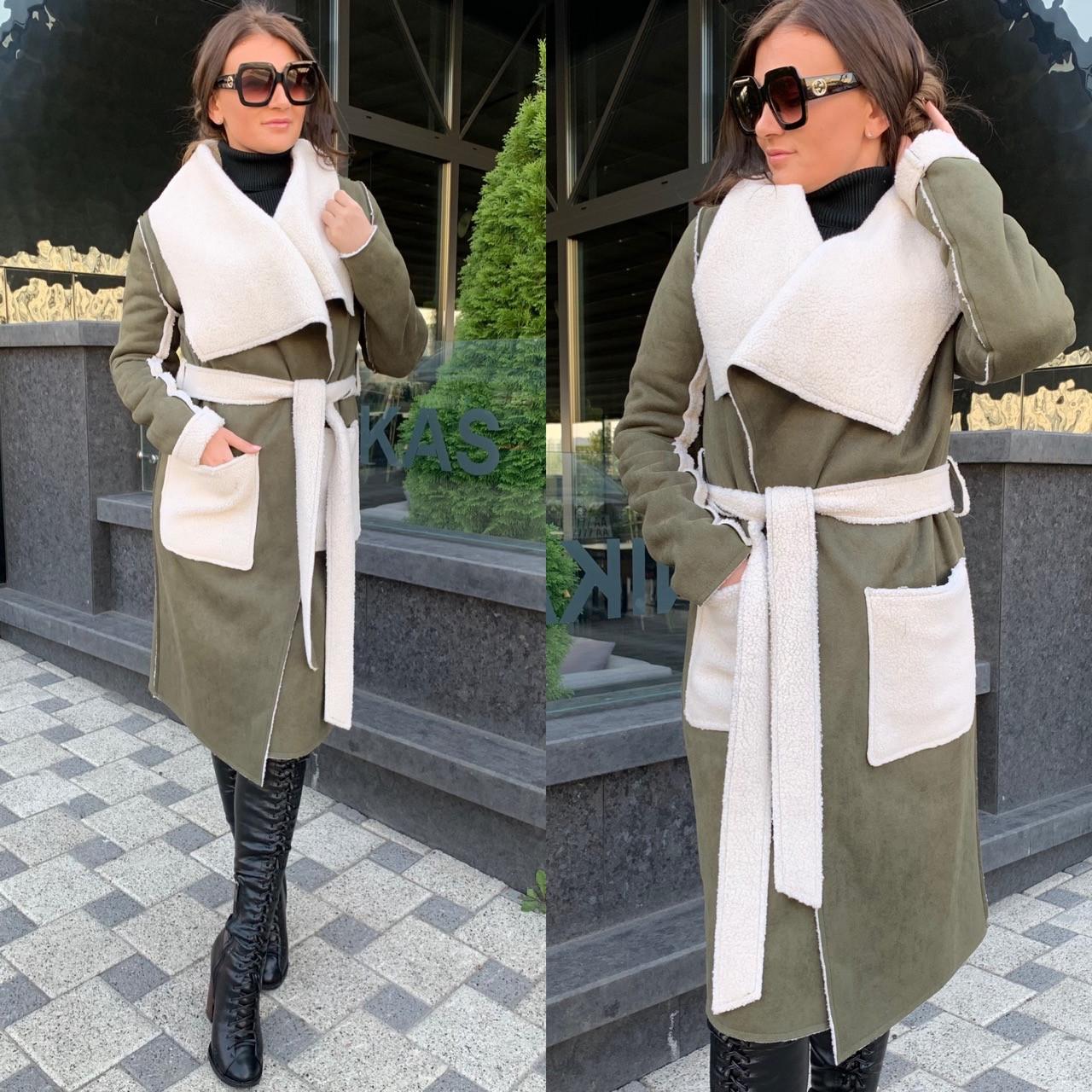 Женское пальто кардиган из экозамши и экомеха баран 5802214