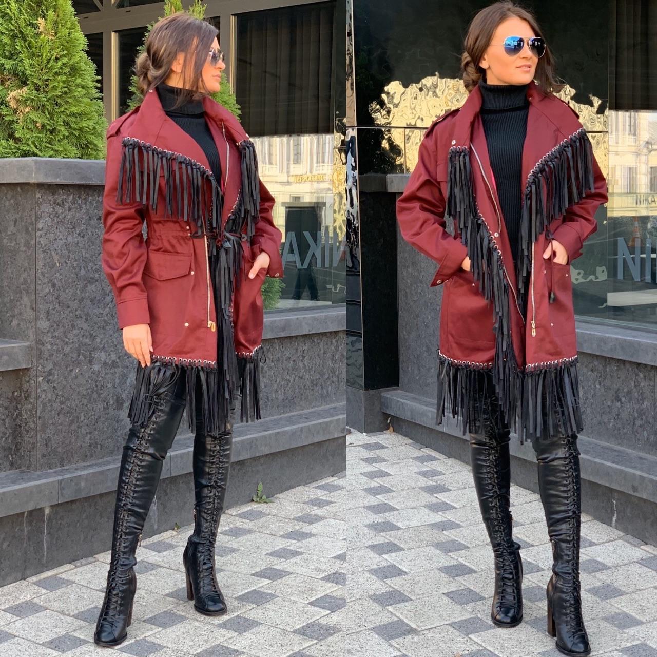 Женское пальто тренч из коттона с бахромой и халитенами 5802215