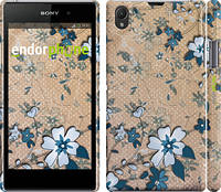 """Чехол на Sony Xperia Z1 C6902 Синие цветы на коричневом фоне """"506c-38"""""""