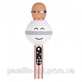 Беспроводной микрофон караоке блютуз WS-878 Bluetooth динамик USB Золотой
