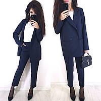 Женский брючный костюм с пиджаком оверсайз на две пуговицы 810236, фото 1