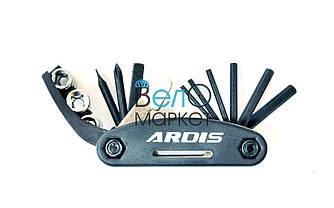 Мультитул ARDIS KL-9802, 15 ЕЛЕМЕНТІВ, KENLI AXLE, для ремонта велосипеда (Черный)