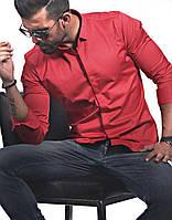 Красная стильная мужская рубашка с длинным рукавом из Турции
