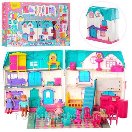 Домик 1205 для кукол, кукольный домик Моя люба хатинка Dream doll house звук, свет, мебель, фигурки 29 предм