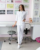 Медичний жіночий костюм Сакура білий, фото 1