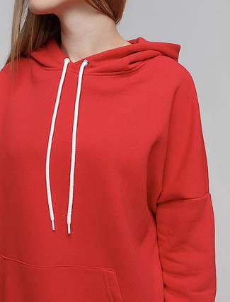 Худи женский на флисе Oversize красный 01, фото 2
