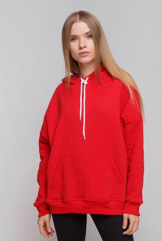Худі жінки на флісі Oversize червоний 01