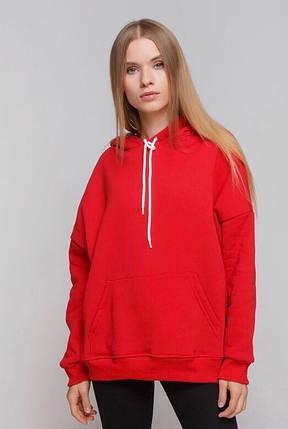 Худі жінки на флісі Oversize червоний 01, фото 2