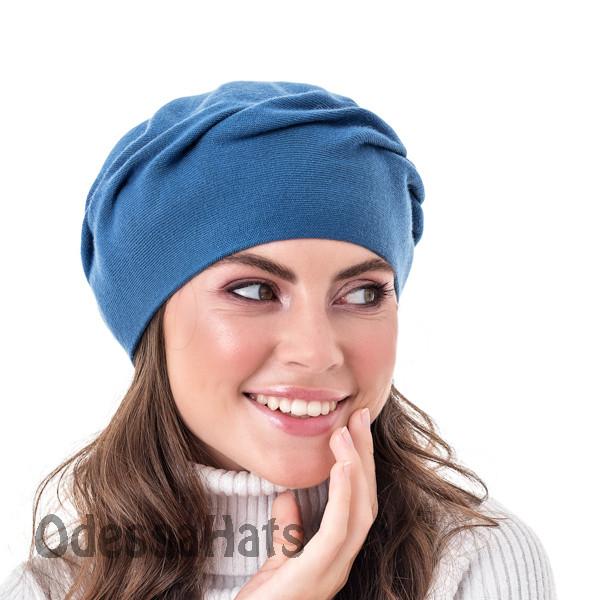Осенне-зимний женский берет  двухслойной вязки цвет синий