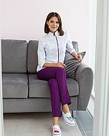 Медицинский женский костюм Сакура белый-фиолетовый, фото 1