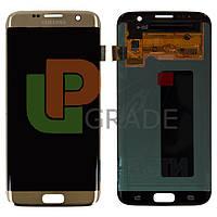 Дисплей для Samsung G935F Galaxy S7 Edge + тачскрин, золотистый, с передней панелью, OLED, копия хорошего качества