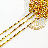Стразовая цепочка, цвет Topaz, ss6 (2mm), металл золото, 1м