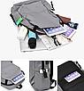 Рюкзак городской Casual Серый с usb выходом, фото 7