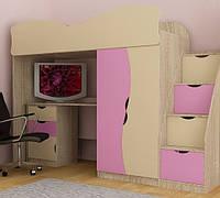 Кровать чердак со ступеньками. Кровать детская МДФ. Кровать двухъярусная. кровать чердак со столом+тумба, крем+розовый