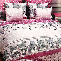 Полуторный комплект постельного белья 150/220 с детским рисунком,одна нав-ка 70/70,ткань поплин 100% хлопок