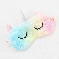 "Мягкая плюшевая маска для сна ""Rainbow Unicorn"". Удобная и милая маска для сна"