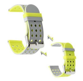 Двухсторонний ремешок Primo с перфорацией для Garmin Vivoactive 3/Vivomove HR/Forerunner 245/645 - Grey&Yellow