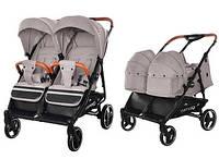 Детская коляска для двойни с люлькой-переноской Carrello Connect CRL-5502/1 Cotton Beige