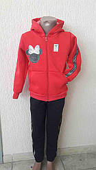 Костюм для девочки 28-34 р-р 3х нить кофта с капюшоном на молнии вышивка на рукаве и штанах  лента.