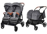 Детская коляска для двойни с люлькой-переноской Carrello Connect CRL-5502/1 Ink Gray