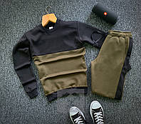 Спортивный костюм Зимний  мужской / Свитшот + штаны хаки-черный