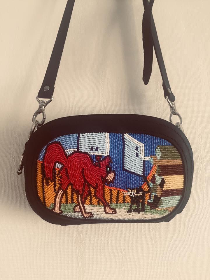 Мини-сумочка натуральная кожа бисер. Hand-made