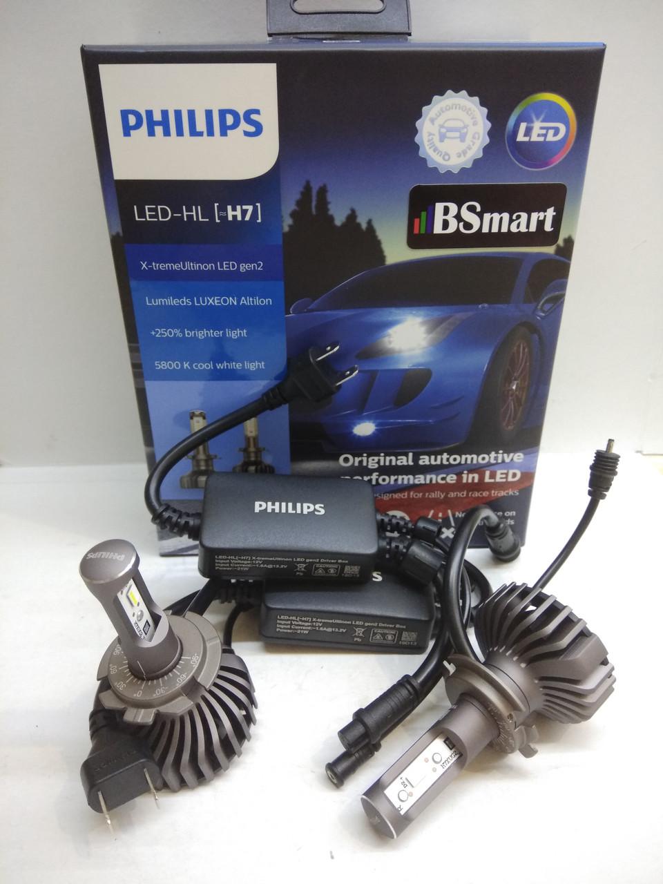 Автолампи PHILIPS LED H7 X-treme Ultinon +250% 5800K 11972XUWX2