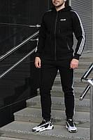 Костюм зимний мужской Adidas утепленный черный. Живое фото