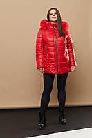 Женская повседневная зимняя куртка с мехом из песца 236 / размер 46-66 / цвет красный
