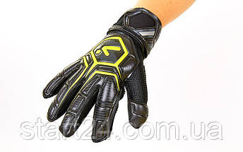 Перчатки вратарские с защитными вставками на пальцы STORELLI FB-905-2  (PVC, р-р 8-10, черный-желтый), фото 2